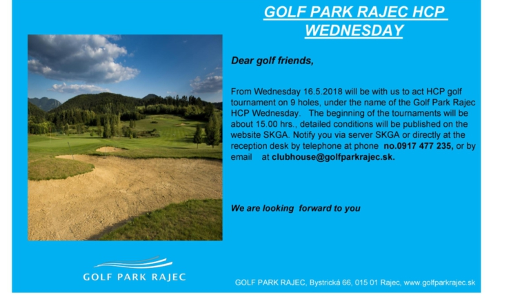 GOLF PARK RAJEC HCP WEDNESDAY